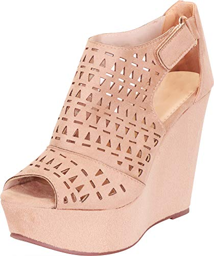 Cambridge Select Women's Open Toe Laser Cutout Caged Chunky Platform Wedge Sandal,10 B(M) US,Taupe IMSU