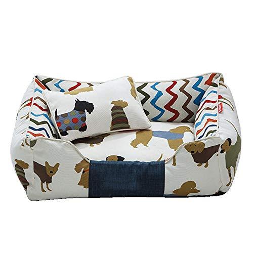 Zwinger Hundebett Abnehmbares Hundebett Kinderbett Soft Print Pet House Hundekissen Pads Atmungsaktive Liege Sofa Zwinger Für Kleine Mittelgroße Hunde Haustierzubehör S45X35X18Cm Braun