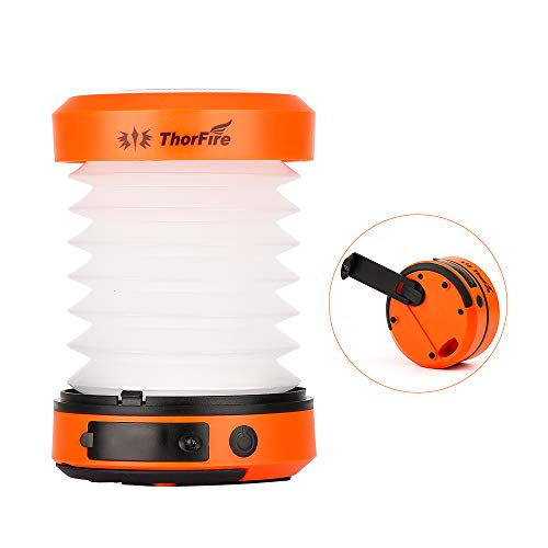 ThorFire LED Camping Lantern Lights Hand Crank USB Rechargeable...