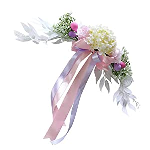 jojofuny Artificial Flower Swag Decorative Swag with Silk Flower Bow Chair Back Decorations for Wedding Arch Front Door Wall Decor Ornaments