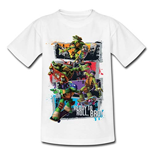 TMNT Turtles Leo Donnie Raph Mikey Fahren Skateboard Kinder T-Shirt, 122-128, Weiß