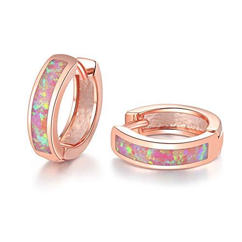 CiNily Huggie Earrings Pink Opal Hinged Hoop Earrings Rose Gold Plated Small Hoop Earrings for Women Girls Cute Earrings