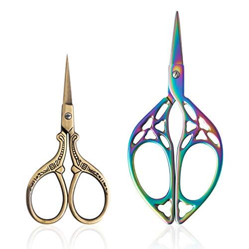 Asdirne - Forbici da ricamo in acciaio inox, forbici, stile vintage, a forma di foglia, 2 pezzi, 11,5 cm e 9,5 cm, colore: Arcobaleno/Oro