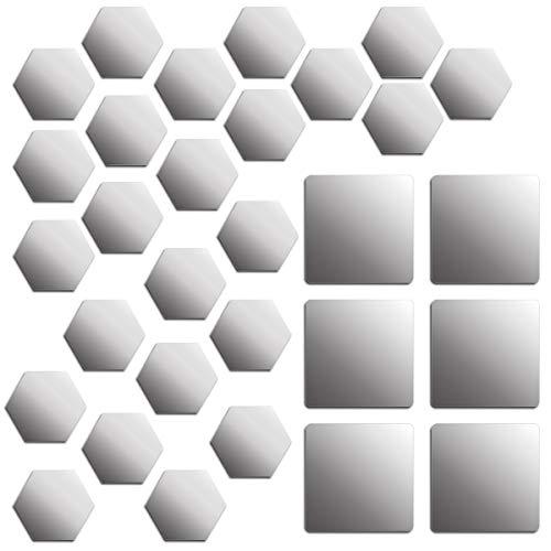 Xiuyer 24 pcs Espejo Pegatina de Pared Hexagonal 10x8,6x5cm & 6 pcs Cuadrados Mirror Wall Stickers 15x15cm Auto-Adhesivas Acrílico Pegatinas Azulejos para Decoración del Hogar Dormitorio Baño Plateado