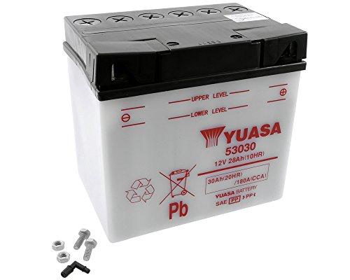Yuasa - Batteria da 12 V, 30 Ah, 53030 (186 x 130 x 171 mm) per K R 60 75 100