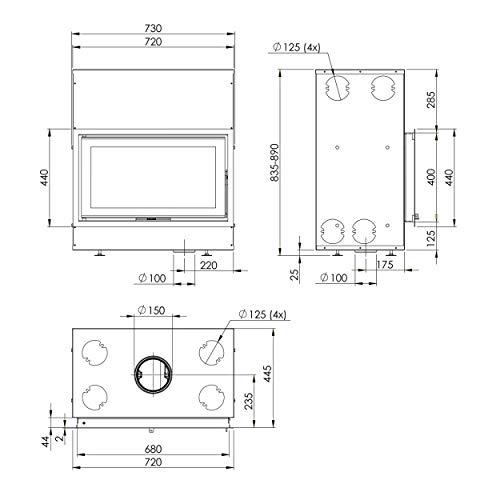 Dovre 01.95505.021 Vista 702C/V2 Kamineinsatz mit Vermiculit-Platten im Brennraum/A+