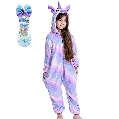BRONG Mädchen Einhorn Einteiler Pyjama Weicher Pyjama Schlafanzug Schlafanzug für Kinder Unisex Halloween Kostüm Cosplay mit Schleife Haarnadel