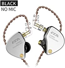 CCA CA4 Dual Driver in Ear Earphones Zinc Alloy Cover + Imported Resin Cavity + Aluminum Alloy Sound Out???DJ in Ear Monitor for Enhance Bass, Mids and Clear Highs???Black No mic???