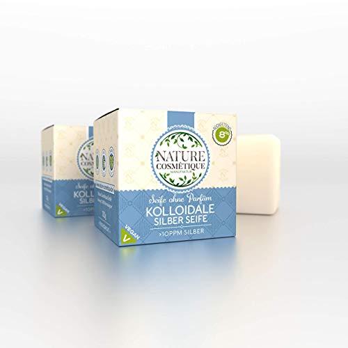 kolloidale BIO Silber Seife 120g vegan und kaltgerührt aus natürlichen Inhaltsstoffen (ohne Parfum) 8% rückfettend