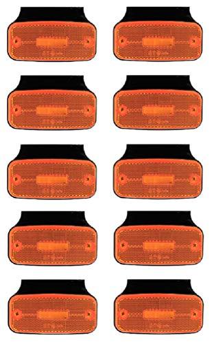 10 x 12/24 V LED-Seitenmarkierungsleuchten mit Halterungen für LKW, Bus, Wohnwagen, Wohnmobil, Auto Chassis