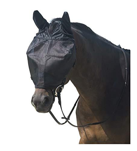netproshop Fliegenmaske mit Ohren und Fleece-Rand zur Befestigung am Zaumzeug, Groesse:Shetty, Farbe:Schwarz