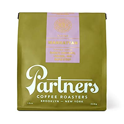 Partners Coffee Manhattan Blend Dark Roast Espresso Whole Bean Coffee with Flavor Notes of Baker's Chocolate, Caramel, Maple Syrup, Ideal for Drip/Cold Brew Methods – 12 oz.