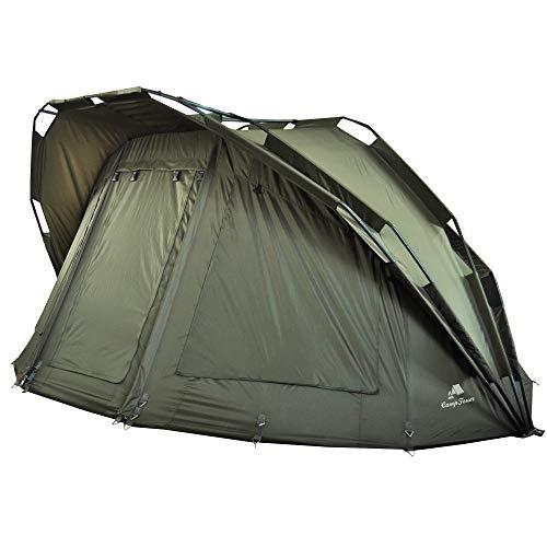 CampFeuer Angelzelt Hurricane | 2 Mann Karpfenzelt für Angler mit 10000 mm Wassersäule | wasserdicht | 2 Mann Bivvy Tent Anglerzelt | Fischerzelt mit Boden