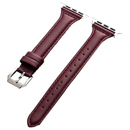 ESTK Correa De Cuero Genuino Compatible Con Apple Watch Band, Correa De Interfaz Con Hebilla De Repuesto Para Iwatch Series Women & Men