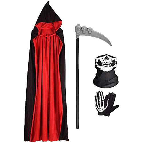 Wishstar Halloween Capa con Capucha,Disfraz Halloween de Terciopelo,Halloween Capa Vampiro con Máscara de Esqueleto Guantes Guadaña,Capa Unisex para Carnaval de Halloween Mascarada(Negro Rojo, L)