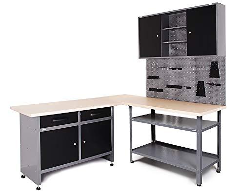 Ondis24 Werkstatt Set Ecklösung Basic One, Werkbank, 180cm Melaminarbeitsplatte, Werkzeugschrank, Werkzeugwand Lochwand, Haken Set, Metall Bank (Arbeitshöhe 85 cm, anthrazit)