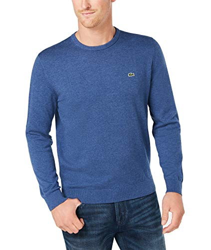 Lacoste Men's Long Sleeve Crew Neck Sweater, Cruise Chine/Navy Blue-FL, 4X-Large