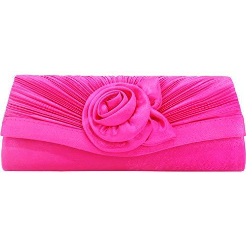 Pochette da sera da donna in raso pieghettato, borsetta da sera, borsetta da sera, in raso a pieghe, borsetta da sera, Rosso rosato. (Rosso) - N00171ZS