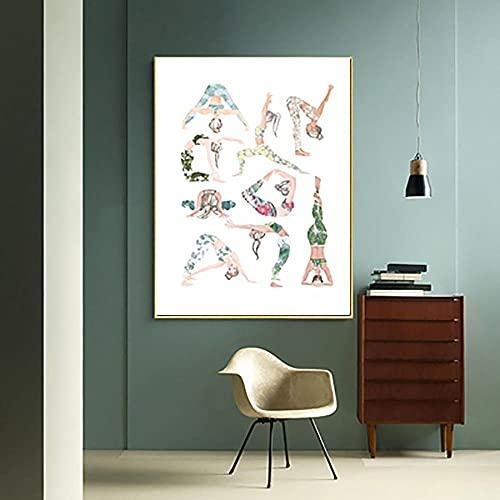 HXLZGFV Decoración del hogar Yoga Asanas Chart Pintura en Lienzo Arte de la Pared Impresión nórdica HD Póster Moderno Cuadro Modular para Sala de Estar | 45x65cm | Sin Marco