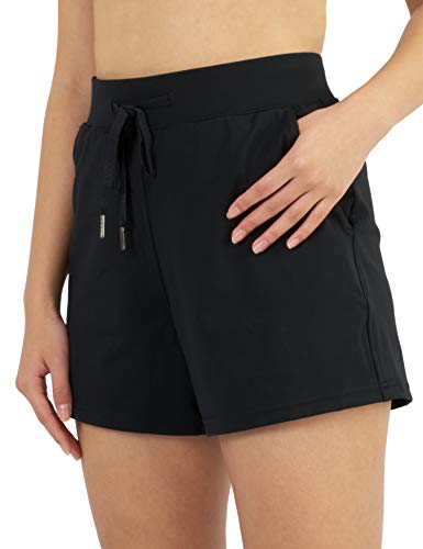 AJISAI Women's Yoga Travel Shorts with Pockets Lightweight Lounge Casual Workout Shorts Black S