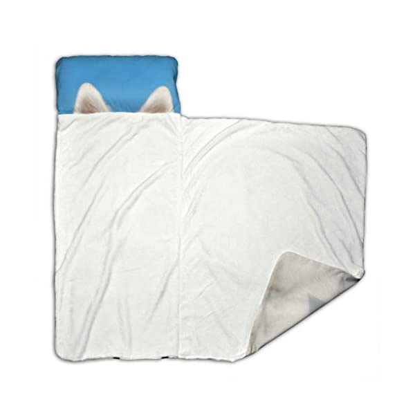 XUGGL Kids Sleeping Bag White Shepherd Dog Holding Rainbow American Nap Mat with Pillow for Toddler Boys and Girls,Classic Slumberbag Perfect Size for Day 2