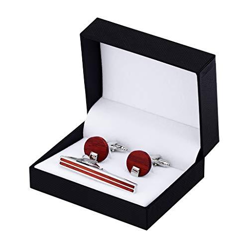 ZCX Silber High-End-Männer und Frauen Rotes Sandelholz Krawattenklammer Manschettenknöpfe Kombination Hochzeit Massivholz-Sleeve Krawattennadeln