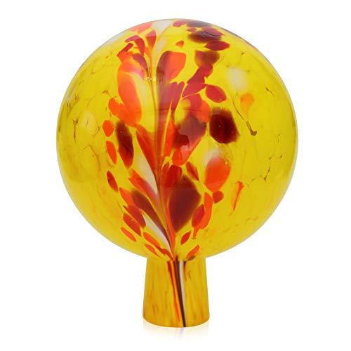 Lauschaer Glas Gartenkugel Rosenkugel aus Glas mit Granulat gelb d 15cm mundgeblasen handgeformt