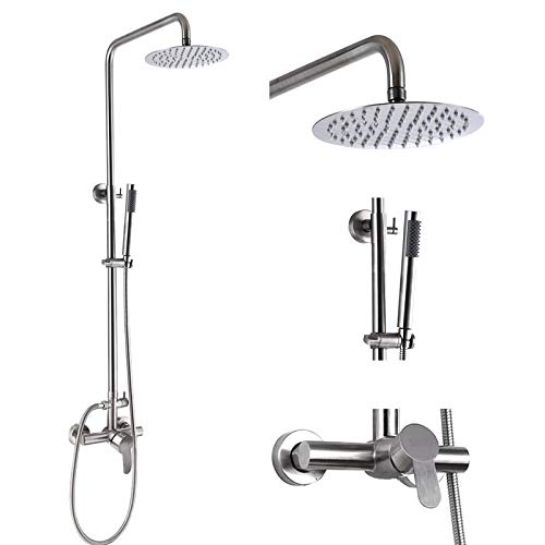 Outdoor Shower Faucet SUS304 Shower Fixture System Combo Set Rainfall Shower Head Single Handle High Pressure Hand Spray Wall Mount 2 Function Brush Nickel 8 inch Rainfall Shower Head Kit