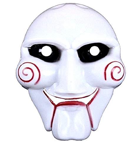LEGISDREAM Maschera di Carnevale Saw l' Enigmista Bianca con decori Rossi Accessorio Idea Travestimento