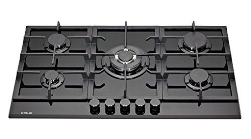 MILLAR GH9051TB 90cm Built-in 5 Burner Black Gas on Glass Hob/Cooktop with...