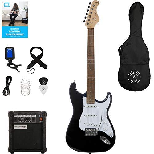 Stretton Payne Paquete de guitarra eléctrica ST con amplificador de práctica, bolsa acolchada, correa, plomo, púa, afinador, cuerdas de repuesto. Guitarra en color negro