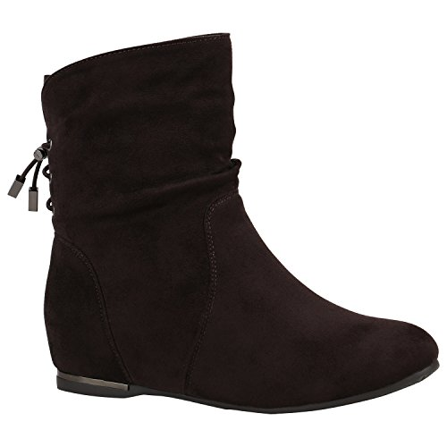 Damen Schuhe Stiefeletten Keilstiefeletten Gefütterte Stiefel Wedges 152218 Dunkelbraun Metallic 38 Flandell