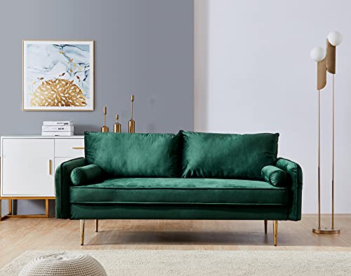 Velvet Couch with 2 Small Pillows, Modern Loveseat Sofa Twin Size Contemporary Sofas for Living Room and Bedroom (Green)