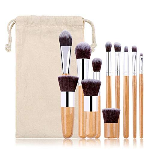 CLZC Pinceau de maquillage, beauté du sac en toile de jute avec 11 poignées en bambou, 11 poignées en bambou