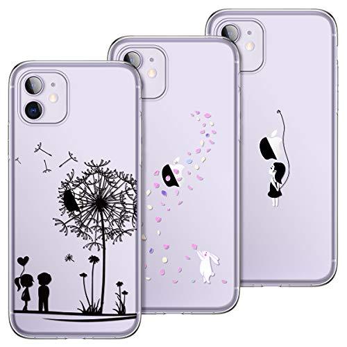 Yokata Kompatibel Hülle iPhone 11 Silikon Transparent Durchsichtig Handyhülle Schutzhülle TPU Ultra Dünn Slim Kratzfest Handytasche [3 Pack] - Löwenzahn + Weißer Hase + Mädchen