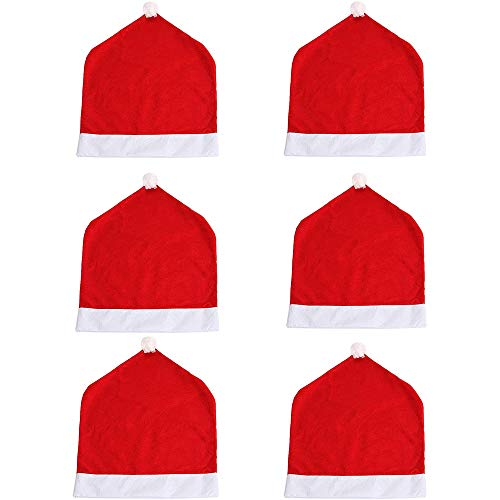 Eight Space 6 Stück Stuhlhussen Weihnachten Set,50 x 60 cm, Weihnachtsmütze Weihnachtsdeko Stuhl Hussen für Haus Restaurant Hotel Hochzeit Party