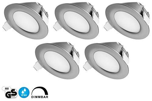 Tevea Faretti ad incasso ultra piatti, LED, IP44,dimmerabili, per il soggiorno e per il bagno, bianco caldo, 6W, 230V, telaio bianco, rotondi, 5pezzi Silber-Warmweiss