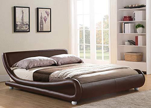 """Italienisches Designer-Bett """"Mallorca"""", mit Rahmen und Rückstellschaum-Matratze, braun, 5FT-King"""