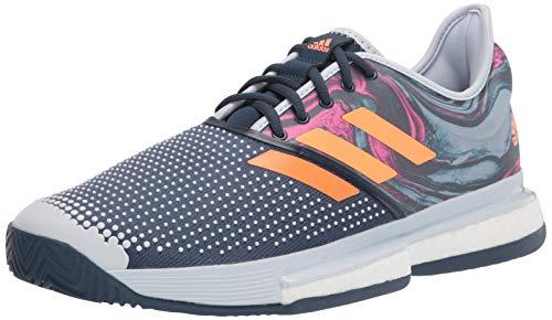 adidas Men's Solecourt Primeblue Tennis Shoe, Halo Blue/Screaming Pink/Screaming Orange, 8.5