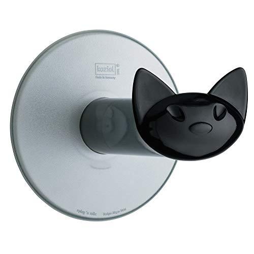 koziol WC-Rollenhalter Miaou, Kunststoff, transparent anthrazit, 13,2 x 12,7 x 12,7 cm