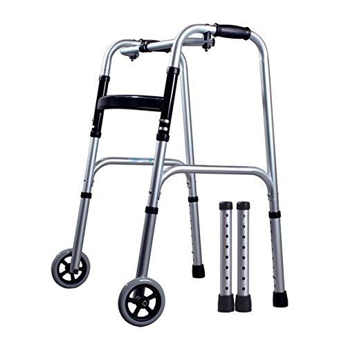 Rollator con 2 Ruedas Ayuda para Caminar Andador Caminador, Andador para Ancianos y Minusválidos, Aluminio, Ligero, Plegable,B ⭐