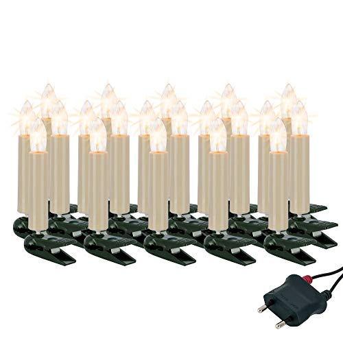 Hellum Lichterkette innen / 20 LED-Filament warm-weiß Riffelkerzen/Länge 13,3 m + 2x1,5 m Zuleitung, schwarzes Gummi-Kabel/Fassungsabstand 70 cm/teilbarer Stecker/Weihnachten / 814019