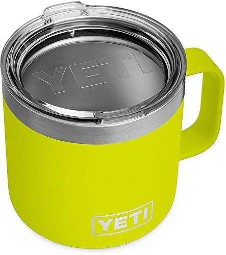 yeti insulated drink mugs YETI Rambler 14 oz Mug, Stainless Steel, Vacuum Insulated with Standard Lid, Chartreuse
