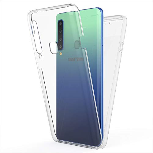 NALIA 360 Grad Handyhülle kompatibel mit Samsung Galaxy A9 2018, Full-Cover Silikon Bumper Bildschirmschutz vorne Hardcase hinten, R&um Hülle Doppel-Schutz, Dünn Ganzkörper Hülle, Farbe:Transparent