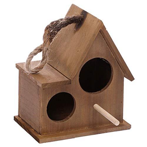 Birdhouses/Bird Cage Outdoor Wooden Bird House Nest Warm Breeding Box Garden Home Decoration (brown) Bird Cages for Small Birds (Color : Brown, Size : S)