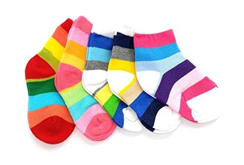 tout-petits bébé Enfants PACK DE 5 ARC-EN-CIEL CHAUSETTES Âge 1 à 12 - 1-2 mois