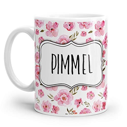 Tasse mit Spruch: PIMMEL mit rosa Blumen Muster