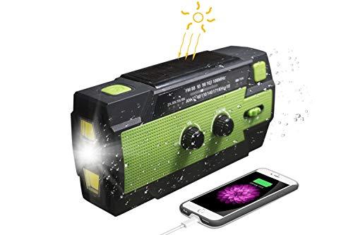 Radio solar, manivela radio AM/FM recargable dínamo radio impermeable LED dínamo lámpara banco de energía para senderismo, camping, ourdoor, emergencia