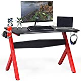 <span class='highlight'><span class='highlight'>CASART</span></span>. R-Shaped Gaming Computer Desk with Headphone Hook, Handle Hooks, Cup Holder and Mouse Pad, Home Office Study Bedroom Ergonomic Computer Table Workstation