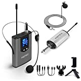 Hotec UHF Wireless Headset Microphone/Lavalier Lapel Mic with Bodypack Transmitter and Mini Rechargeable